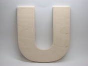 LetterWorx 20cm Wooden Letter U - Arial Font | Unfinished Baltic Birch Wood | 20cm Tall