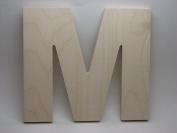 LetterWorx 20cm Wooden Letter M - Arial Font | Unfinished Baltic Birch Wood | 20cm Tall