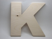 LetterWorx 20cm Wooden Letter K - Arial Font | Unfinished Baltic Birch Wood | 20cm Tall