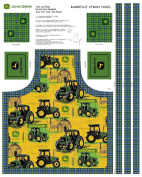 John Deere Tractors Allover Butcher Block Apron Panel Fabric Kit