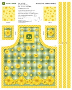 John Deere Sunflowers Butcher Block Apron Panel Fabric Kit, Yellow