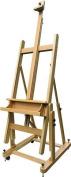 US Art Supply® MALIBU H-Frame Deluxe Adjustable Wood Studio Easel with Tilt & Casters