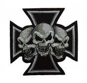 Maltese Iron Cross with 3 Skulls Embroidered Small Patch Motorcycle Biker