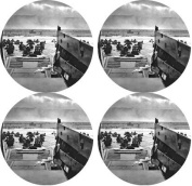 WWII Normandy Rubber Round Coaster set (4 pack) Great Gift Idea