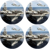 Aircraft Carrier Rubber Round Coaster set (4 pack) Great Gift Idea
