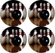 Bowling Rubber Round Coaster set (4 pack) Great Gift Idea