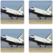 Nasa Space Shuttle Landing Rubber Square Coaster set (4 pack) Great Gift Idea