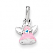 Sterling Silver Pink Enamel Angel Kid's Pendant