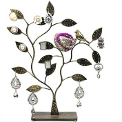 KELITCH Jewellery Tree w/ Bird Nest 60 Pair Earrings Holder, Bracelets / Necklace Organiser Stand