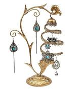 Golden Jewellery Tree Spiral Earrings Holder, Organiser Stand