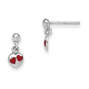 Sterling Silver RH Plated Child's Red Enamelled Heart Dangle Earrings
