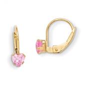 14K Madi K Leverback 4mm Pink CZ Earrings