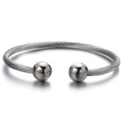 Magnetic Therapy Mens Stainless Steel Twisted Cable Bangle Bracelet Silver Colour Polished
