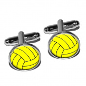 Water Polo Water Polo Ball Round Cufflink Set - Silver