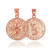 Solid 14k Rose Gold Fireman Protection Shield Medal of St Michael Firefighter Necklace Pendant