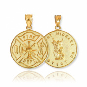 Solid 14k Yellow Gold Fireman Protection Shield Medal of St Michael Firefighter Necklace Pendant