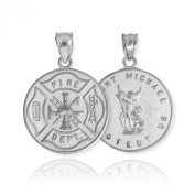 Solid 14k White Gold Fireman Protection Shield Medal of St Michael Firefighter Necklace Pendant
