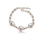KATGI Fashion 18K Gold Plated Lovely Little Fish Austrian Colour Crystal Bracelet