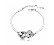 KATGI Fashion 18K White Gold Plated Beautiful Angel Eyes Austrian Crystal Bracelet