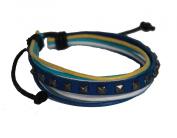 Leather Bracelet, Blue, Adjustable Leather Bracelet, Multicolour Rope Unisex Surfer Wrap Bracelets