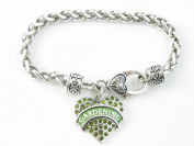 Gardening Green Crystal Heart Silver Lobster Claw Bracelet Jewellery Thumb Gift
