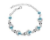 KATGI Fashion 18K White Gold Plated lovely Beetles Austrian Blue Crystal Bracelet