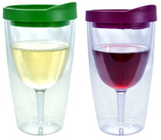 Wine Tumbler - 300ml Insulated Vino Double Wall Acrylic With Merlot and Verde Drink Through Lid - Wine 2Go!