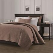 Chezmoi Collection Austin 3-piece Oversized (250cm x 270cm ) Bedspread Coverlet Set Queen, Taupe