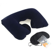 Chariot Trading - Set Inflatable Neck Air Cushion Pillow + eye mask + 2 Ear Plug Comfortable business trip 3 in1