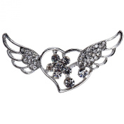 Yazilind Jewellery Sweet Silver Plated Colourful Crystal Love Brooches and Pins for Wedding Party