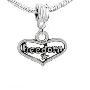 "One (1) Antique Silver ""Freedom"" Charm Heart Pendant Dangle For Snake Chain Bracelets"