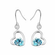 KATGI Fashion 18K White Gold Plated Love Heart Shape Austrian Highland Crystal Pendant Drop Earrings