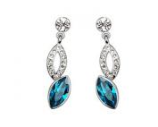 KATGI Fashion 18K White Gold Plated Angle Tear Austrian Blue Crystal Pendant Drop Earring