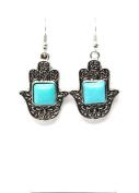 . Fashion Tibetan Silver Hamsa Turquoise Earring Set / AZERVI016-ABL