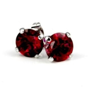 Simple Round Cut Ruby Cubic Zirconia Gold Tone Stud Earrings