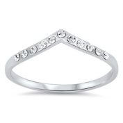 Rhodium Plated Stackable Tiara CZ Ring 4MM Sterling Silver 925