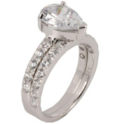 2 pcs 4.49CT Sterling Silver 925 Pear CZ Bridal Ring Set Size 5 to 10