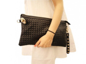 Ladies Punk Rivet Studded Spike Quilted Evening Party Clutch Purse Wallet Handbag