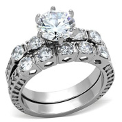 Stainless Steel 6-Prong Cubic Zirconia Wedding Ring Set