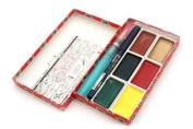 Kuretake Little Red Gift Set - 6 Watercolour Palettes Super Fine Hard Brush Waterbrush Pen