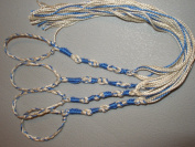 Tangled loops Tzitzits (Set of Four) White with Blue Thread - Tassels ( with Longer Blue Messiah Thread )