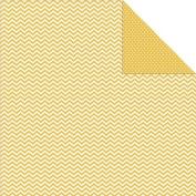 Sn@p! Colour Vibe Double-Sided Cardstock 30cm x 30cm -Yellow Chevron/Mini Dot 25 per pack