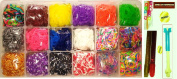 Loom Rainbow Rubber Band Complete Collection 2MB Organiser Storage Kit 5400 Pcs Perfect Rainbow Colours-gold,silver,neon.glow in the Dark Polka,tie Dye,Glitter rubber bands-C clips and S clips +BONUS