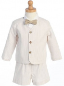Boy's 4 - Piece Striped Seersucker Eton Suit in Khaki