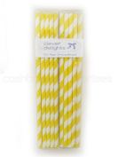 CleverDelights Biodegradable Paper Straws, Yellow Stripe, Box of 100