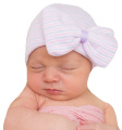 Melondipity's Purple and Pink Nursery Striped Newborn Girl Hospital Hat with Big Bow