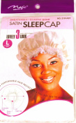 White, Satin Sleeping Cap, Breathable and Comfortable Material, Elastic Band, Large Size 50cm to Accommodate Hair Curlers and Rollers, Keeps Hair Styles in Place and Helps to Prevent Breakage