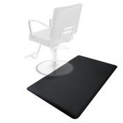 0.9m x 1.5m Salon & Barber Shop Chair Anti-Fatigue Floor Mat - Black Rectangle - 1.6cm Thick