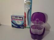 Pepsodent Complete Care Premium Denture Bath Bundle with Efferdent Anti-bacterial Denture Cleanser and Bonus Assured Denture Brush