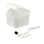 Denture Bath or Storage Case and Double Tipped Multi Use Brush